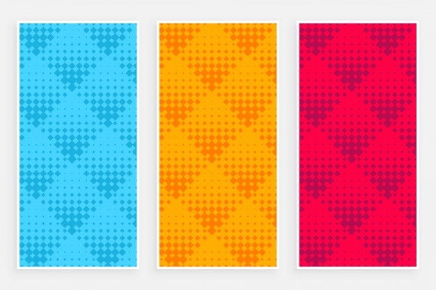 abstract halftone pattern banners different colors 1017 17772
